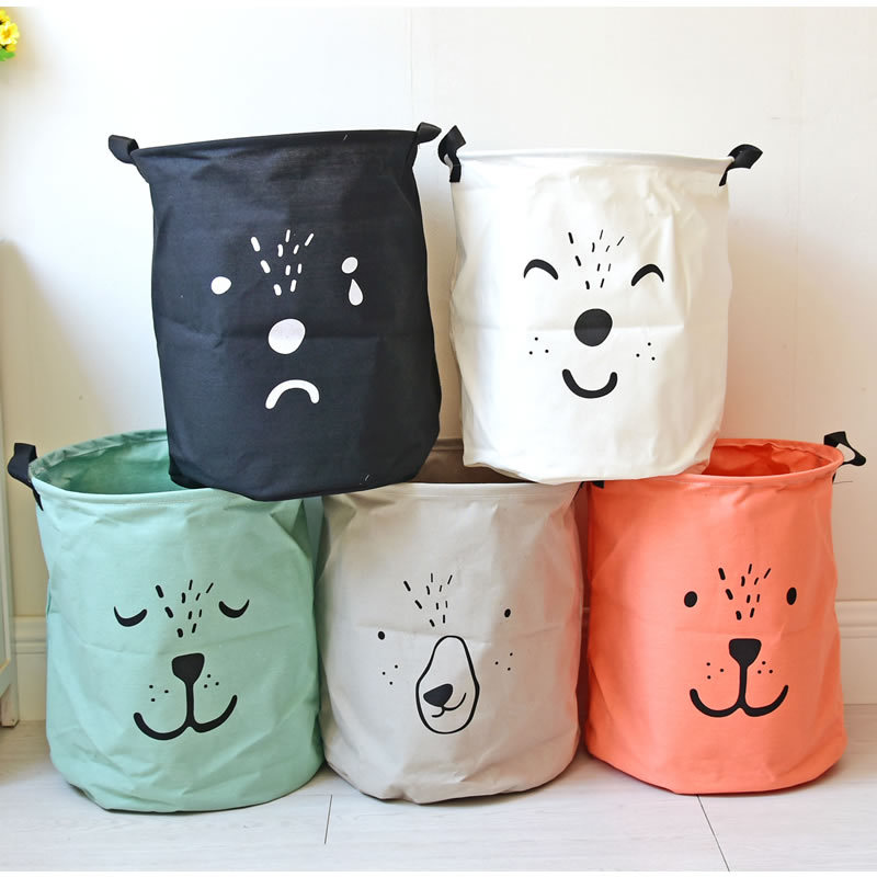 Handheld Laundry Basket Toy Storage Box Super Large Bag Cotton Washing Dirty Clothes Cartoon Lovely Big Basket Organizer Bin