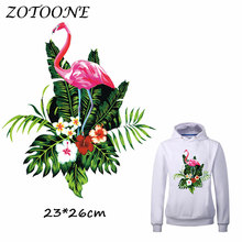 ZOTOONE Pretty Flower Flamingo Iron on Patches for Clothes Heat Transfer t shirt Stickers DIY Accessory Applique C