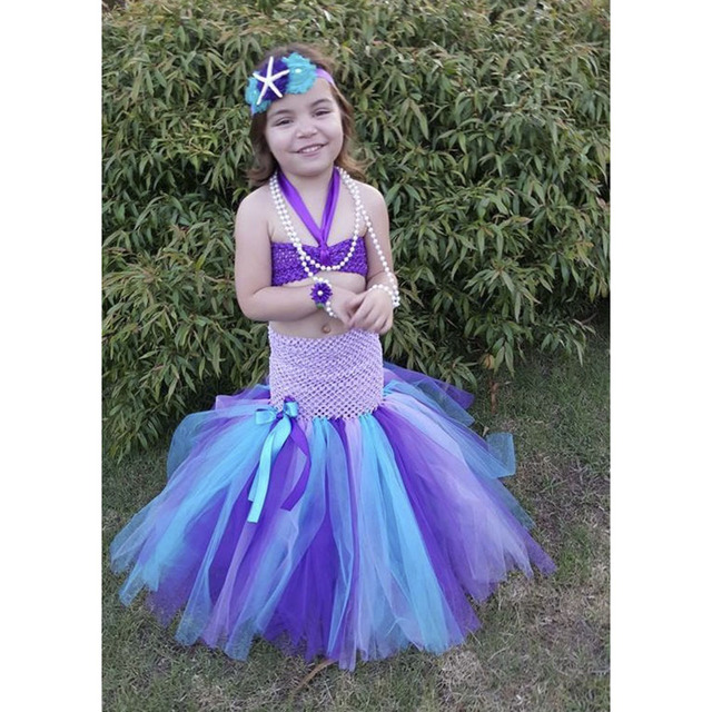 947f7feee75a4 Little Mermaid Tutu Dress with Tail Top Baby Girls Dresses Under The Sea  Photo Prop or Birthday Purple lavender Turquoise PT209