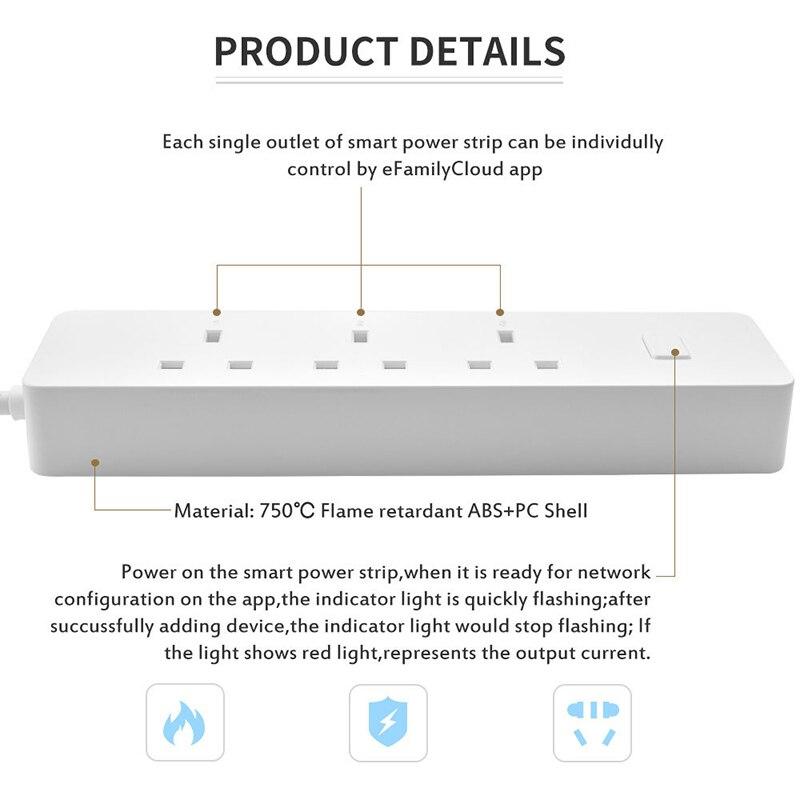 Wifi smart power strip, multi tomada do protetor do impulso soquetes com 3 tomada ca 2 porta usb, alexa eco/temporizador de controle de casa inteligente - 3