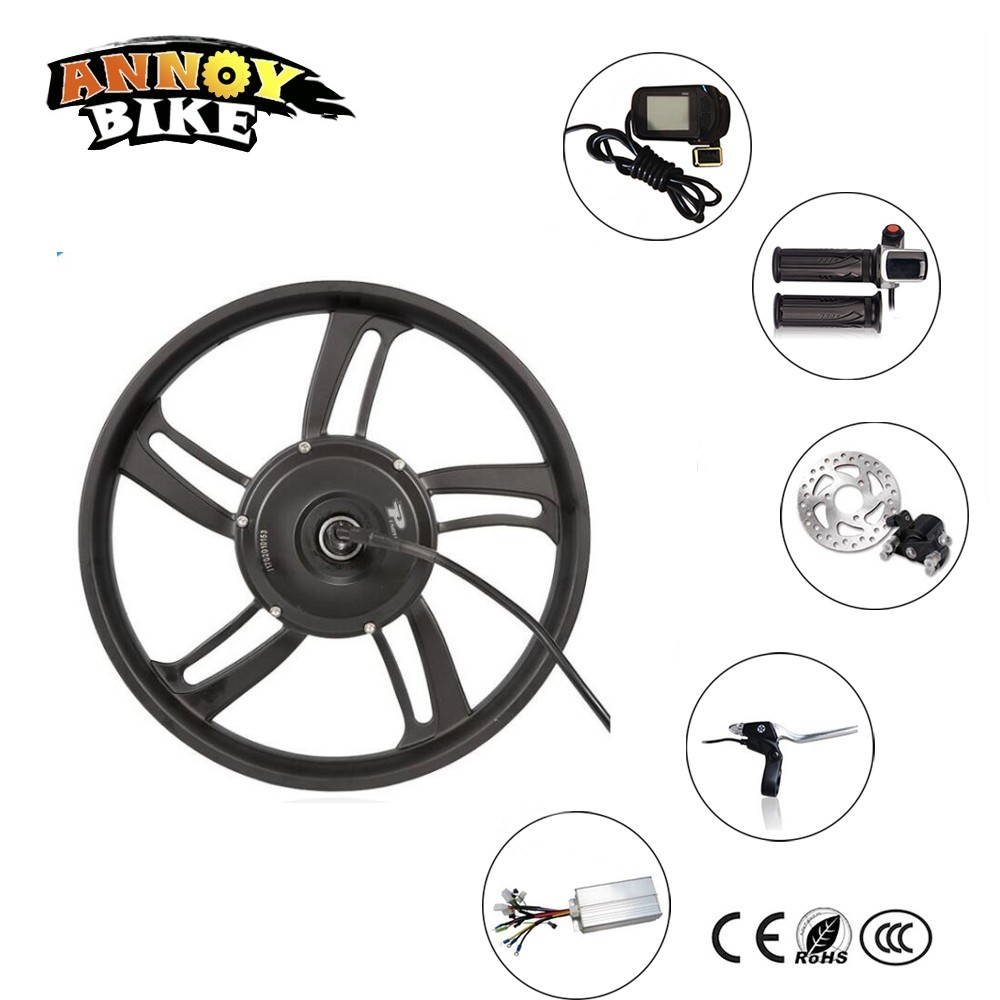 36v 48v 350w16 Electric Scooter Kit 16 Hub Motor Wheel With Throttle LCD display Disc Brake For Home Scooter Adult Scooter DIY 12 front wheel electric scooter kit electric scooter spare parts electric skateboard conversion kit