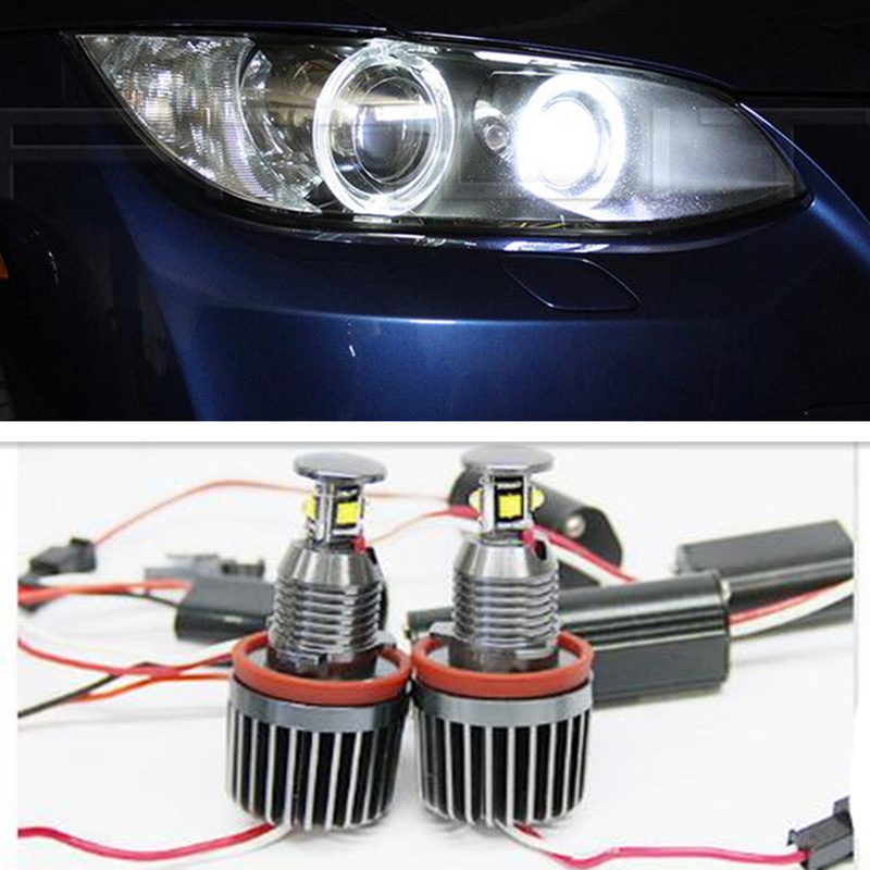 For BMW X5 E70 X6 E71 E60 E90 E91 E92 M3 H8 40W Angle Eyes Led Error Free Fog Headlight 1 Set 2pcs pair 24 led license plate led light lamp white 6000k error free for bmw e39 m5 e70 e71 x5 x6 e60 m5 e90 e92 e93 m3 525i