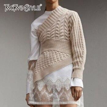 TWOTWINSTYLE с открытыми плечами Женская Трикотаж большой размеры длинным рукавом асимметричный подол пуловер женский Осень повседневное Мода ...