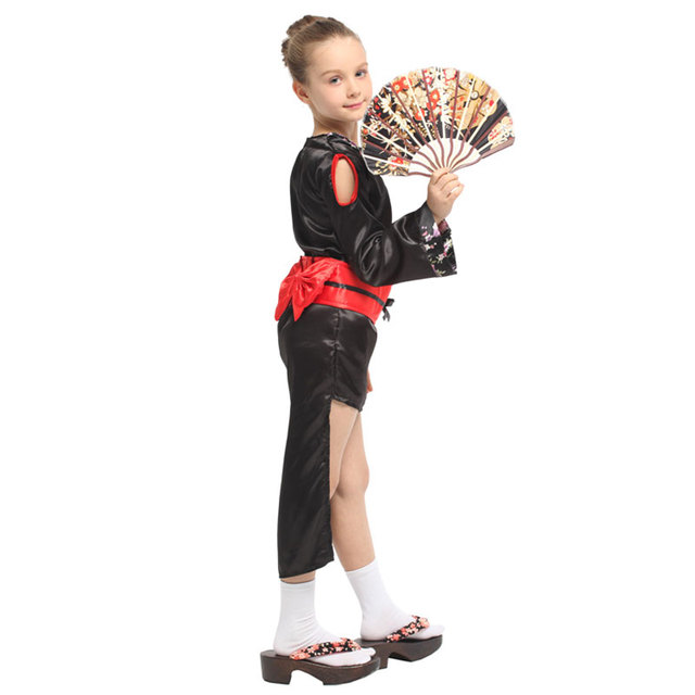 Japanese Traditional Kimono Robe Kids Child Geisha Girl Costume Cosplay Halloween Carnival Mardi Gras Party Fancy Dress 3