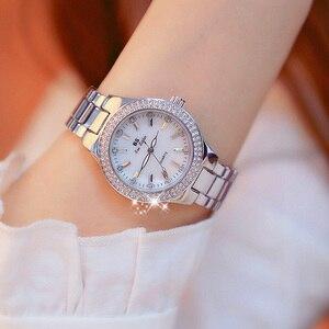 Image 4 - Женские кварцевые часы, из нержавеющей стали, с кристаллами, розовое золото, 2019