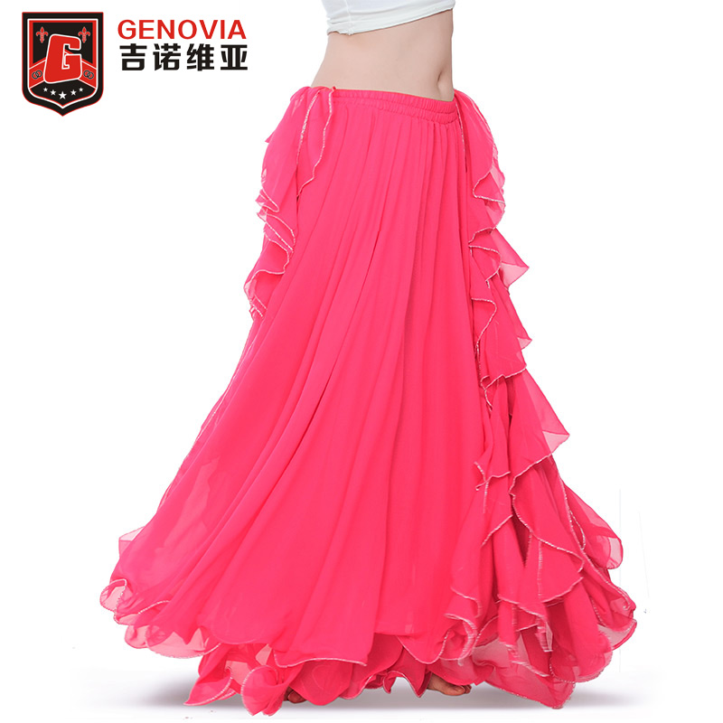 Delicious 11colour Professional Chiffon Women Belly Dance Costume 3 Layers Full Slit Skirt New Arrival 2018 Belly Dance Skirt Dress