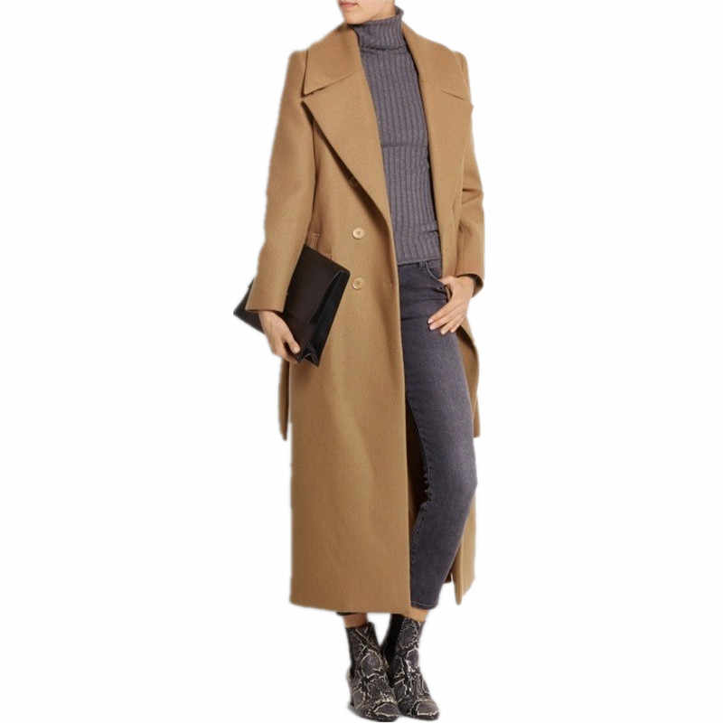 casaco feminino 2019 UK Women Plus size Autumn Winter Cassic Simple Wool Maxi Long Coat Female Robe Outerwear manteau femme