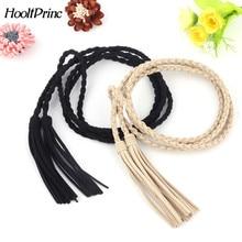 HooltPrinc New Fashion Knit Women Belt Tassel Braided Waist Rope Thin Waistband Cummerbund For Dress Shorts Jeans Skirt Apparel