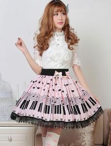 Image 3 - Милая Короткая юбка Лолиты, милая летняя юбка с принтом рояльных ключей и мелодий для женщин