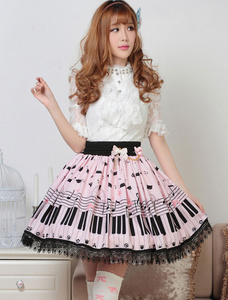 Image 3 - Sweet Lolita Short Skirt Cute Piano Key and Melody Printed Summer Skirt for Women
