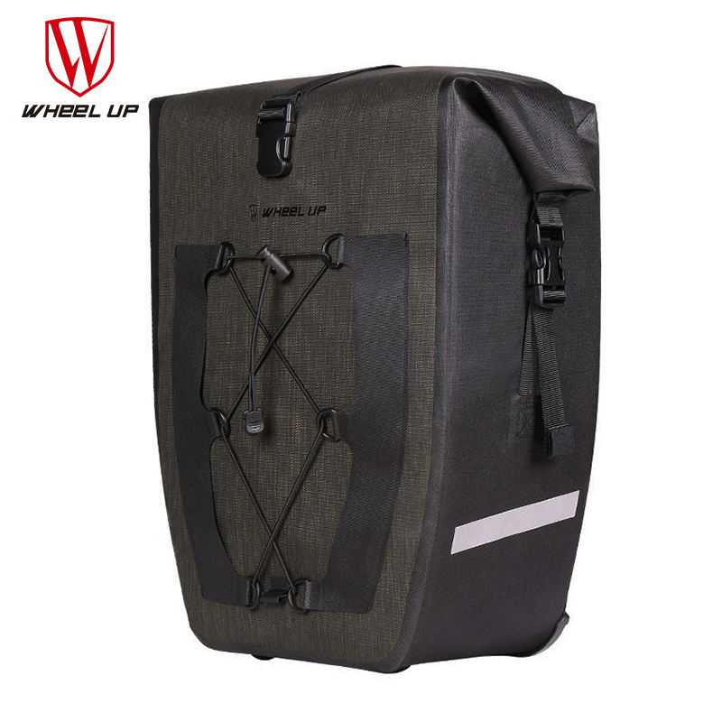 WHEEL UP Waterproof 27L Capacity Bicycle Bag Nylon Road Mountain Bike Pack Cycling Rear Tail Seat Rack Package Cycle Accessories roswheel 50l bicycle waterproof bag retro canvas bike carrier bag cycling double side rear rack tail seat trunk pannier two bags