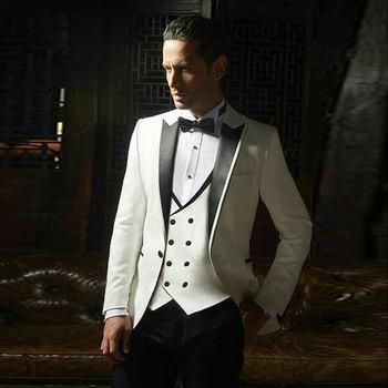 Slim Fit Costume Homme Latest Black Peak Design Ivory Men Suits for Wedding Groom Tuxedos 3Piece Custom Made Terno Masculino