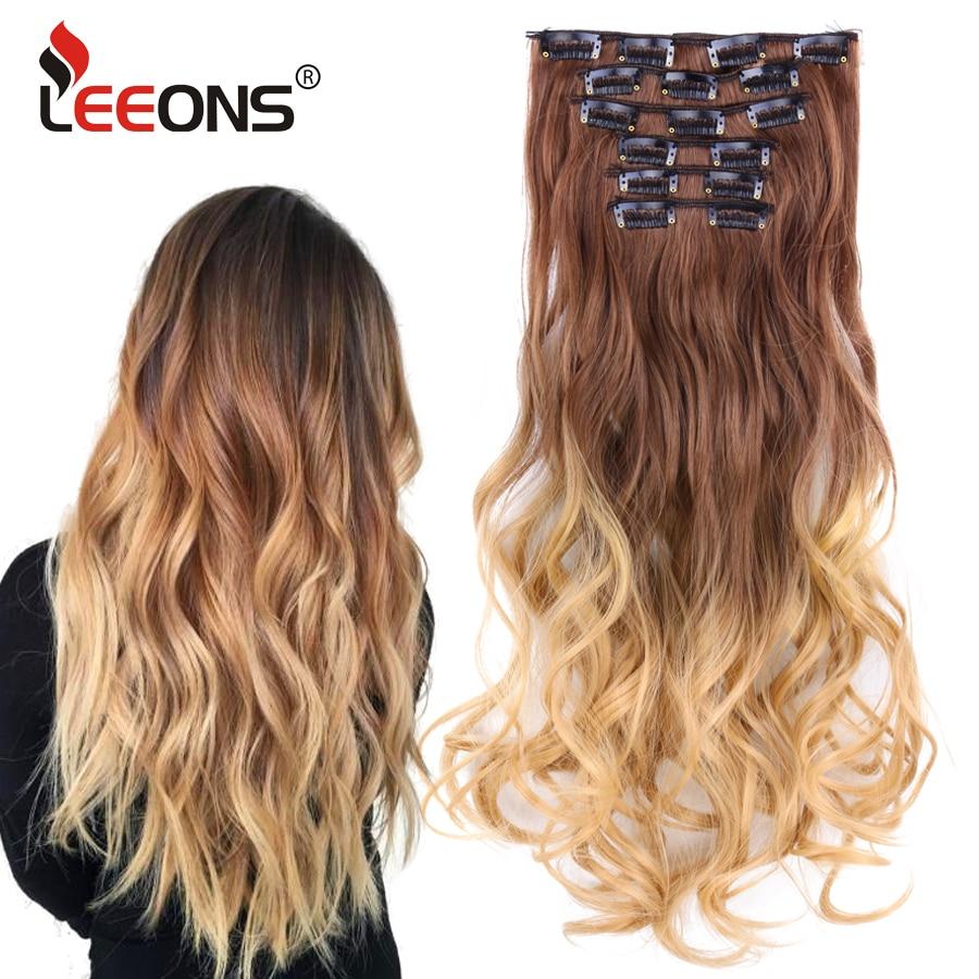 Leeons-extensiones de cabello con 16 pinzas, accesorios para el cabello, Clip de extensión de cabello rizado largo, fibra sintética resistente al calor, color degradado