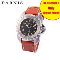Модные механические мужские часы 44 мм Parnis вращающийся ободок автоматические мужские часы наручные часы коричневый черный ремешок для часо