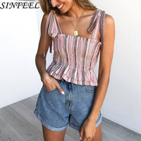 Crop Top Short Cami Tank Top Female Cute Striped Tube Women Tops 2019 Sexy Bandage Slim Cropped Tops Tank Women Feminino Bustier