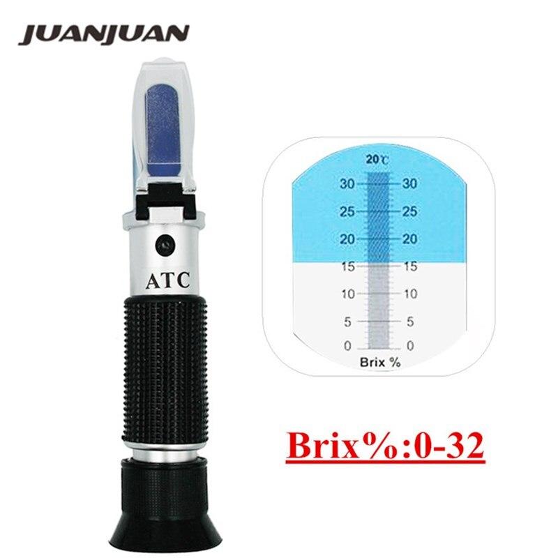 Mano brix refractómetro probador del metro con ATC Calibración de azúcar de aceite: 0-32% herramientas para frutas hortalizas jugo de 44%
