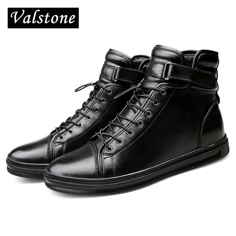 Valstone Quality Men s High Top Genuine Leather boots Winter warm snow boots Hook Loop fashion