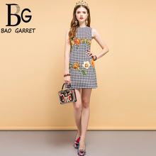 Baogarret New Summer Fashion Designer Vintage Dress Womens Sleeveless Floral  Beading Elegant Vacation Ladies Mini Dresses
