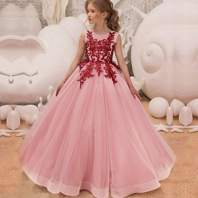 Для девочек в цветочек вышитая бальное платье принцессы для Свадебная вечеринка Детские платья для девочек Детская мода Рождественская одежда