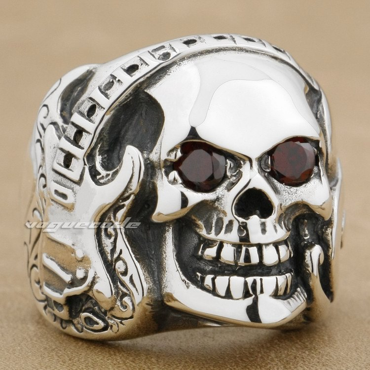 Chitarra Musica Skull 925 Sterling Silver Red CZ Eye Mens Anello Rcker 8V013Chitarra Musica Skull 925 Sterling Silver Red CZ Eye Mens Anello Rcker 8V013