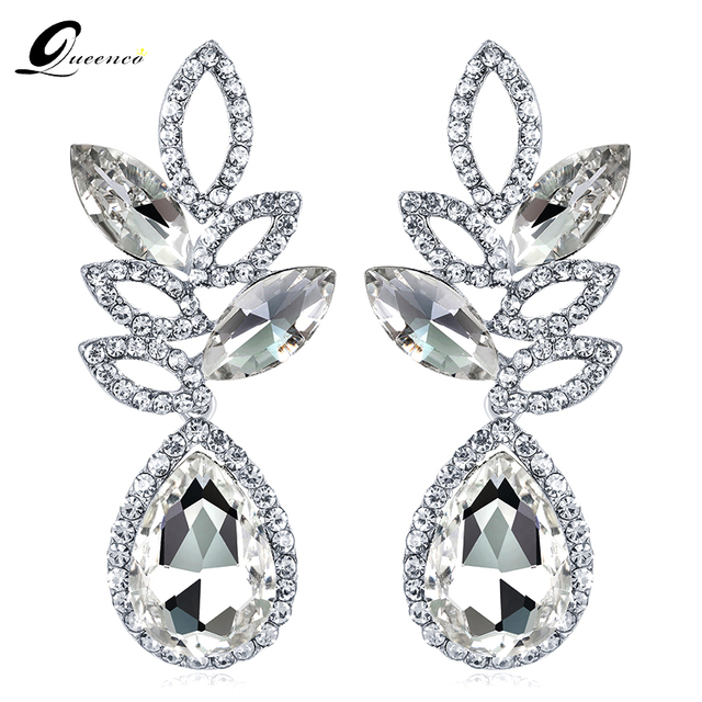 Queenco Crystal Bridal Wedding Earrings Silver Color Long For Women Fashion Teardrop Earring Party Evening Dress