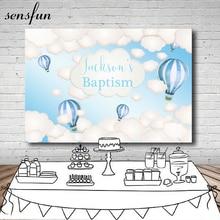Sensfun Jungen Taufe Baby Dusche Hintergrund Coulds Heißer Luft Ballons Licht Blau Thema Geburtstag Party Fotografie Hintergründe 7x5ft