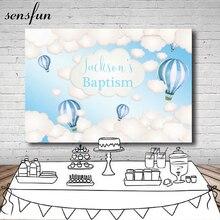 Sensfun garçons baptême bébé douche toile de fond could ballons à Air chaud bleu clair thème fête danniversaire photographie arrière plans 7x5ft