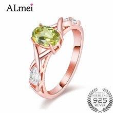 21bd84b82bab Almei verde Peridot oro Color de rosa aniversario filigrana anillo de la  joyería de las mujeres de plata esterlina 925 Vantage c.