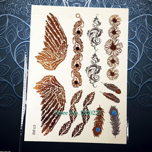 1 Sheet Designer Gold Temporary Tattoo Sticker/Angel Wings Fairy Gold Flash Tattoo Paste/Big Size Tatoo Style 202