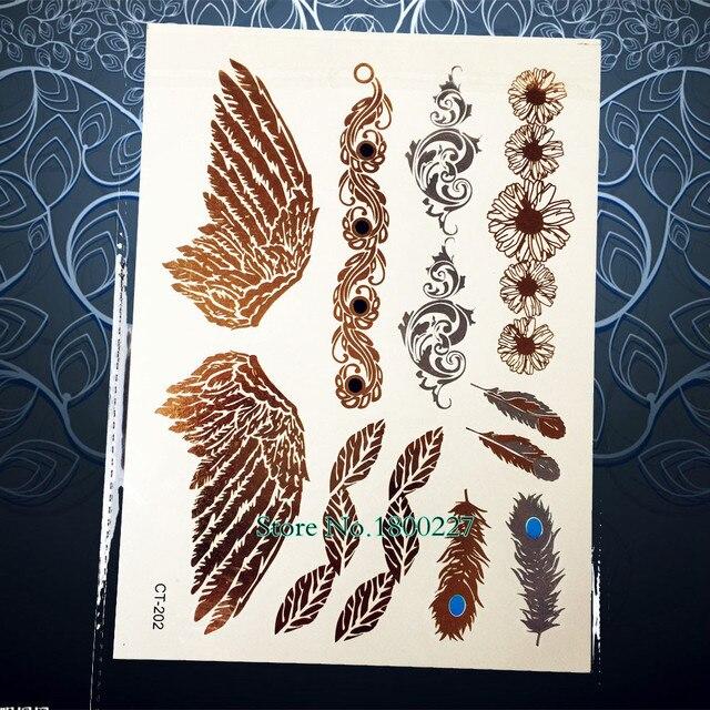 1 Sheet Designer Gold Temporary Tattoo Sticker/Angel Wings Fairy Gold Flash Tattoo Paste/Big Size Tatoo Style 202