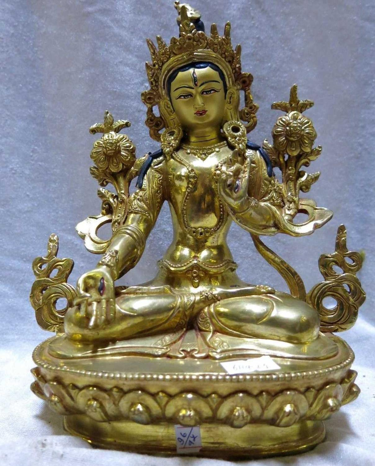 Free shipping 9 tibet gilt bronze buddhism lotus flower white tara free shipping 9 tibet gilt bronze buddhism lotus flower white tara buddha sculpture statue in statues sculptures from home garden on aliexpress izmirmasajfo