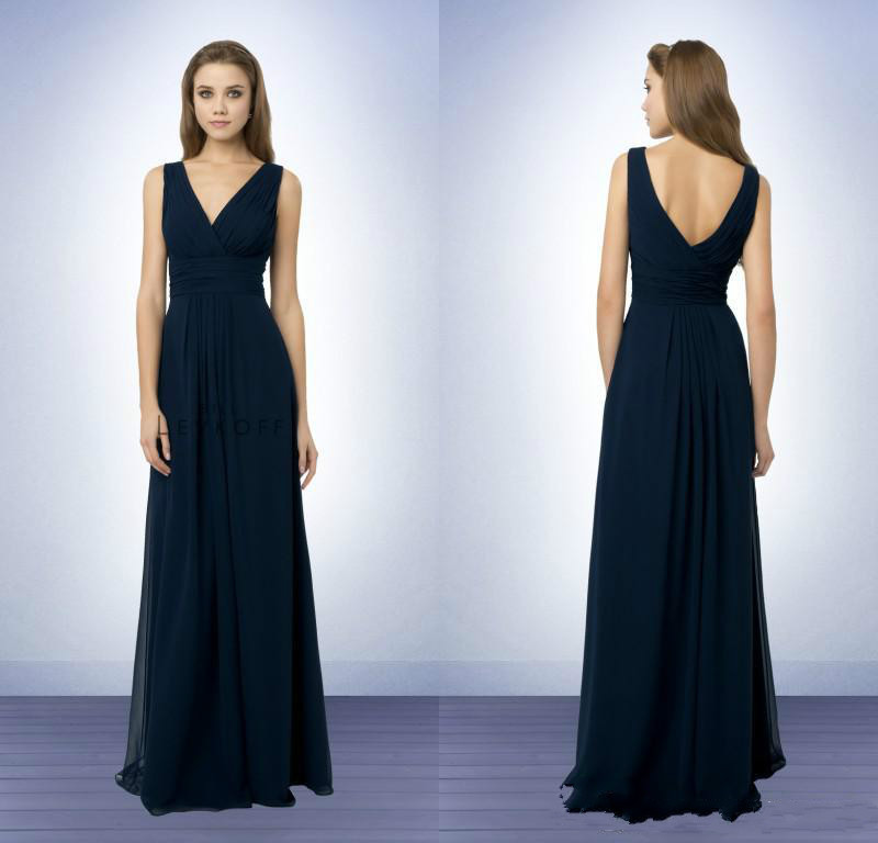 Vintage Dresses Blue Wedding: DAB3203 Vintage A Line V Neck Pleats Sash Floor Length