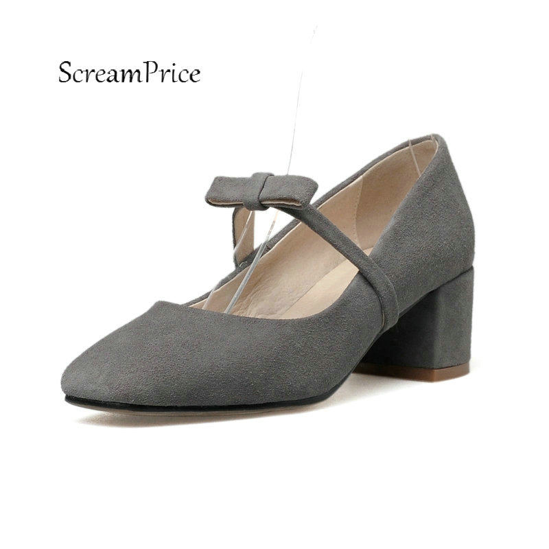 For Women's Suede With Sweet Bow Knot Pumps Comfortable Square Heel Dress High Heel Shoes Black Gray Nude Khaki цена