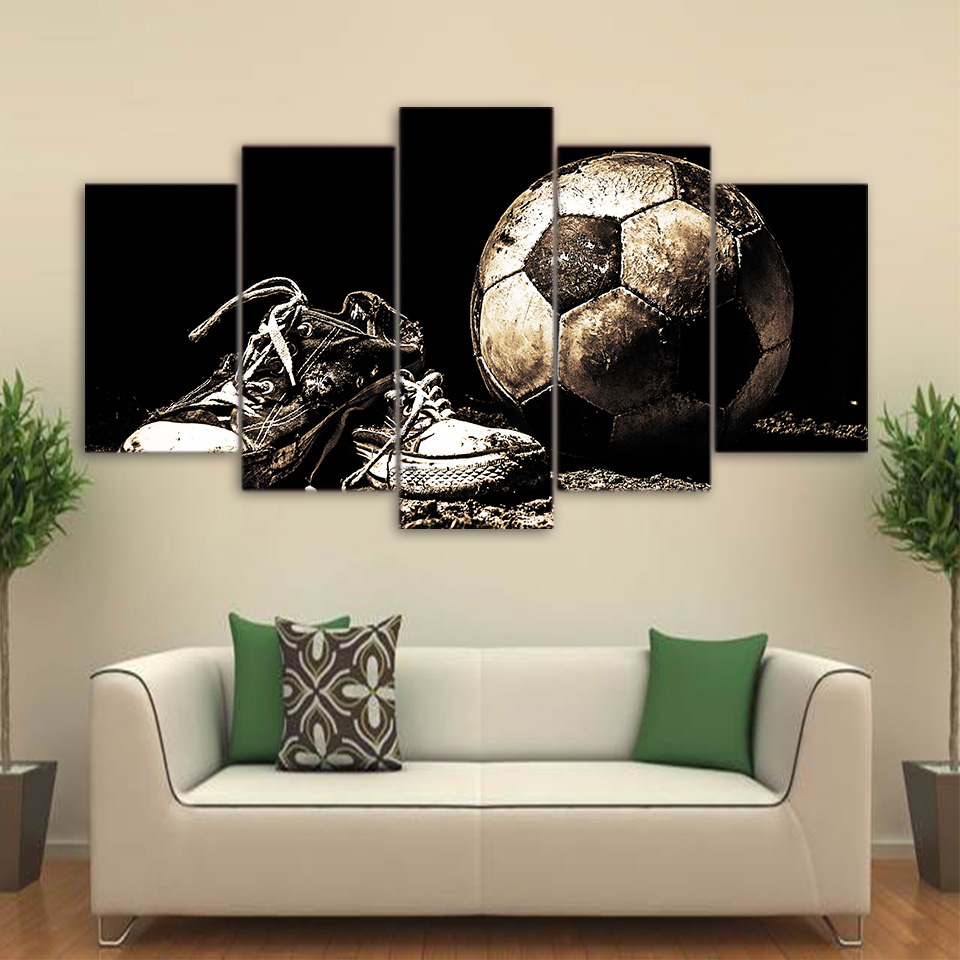 HD Printed Modular Canvas Living Room Poster 5 Panels Dirty Soccer Shoes Framework Wall Art Painting Modern Home Decor Pictures