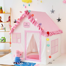 Pink Girls Princess Tent Cotton Solid Wood Play Game House Lace Castle for Kids Party Decorations