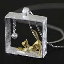 Серебряный цвет кошка ожерелье звено цепи из сплава kitty ожерелья