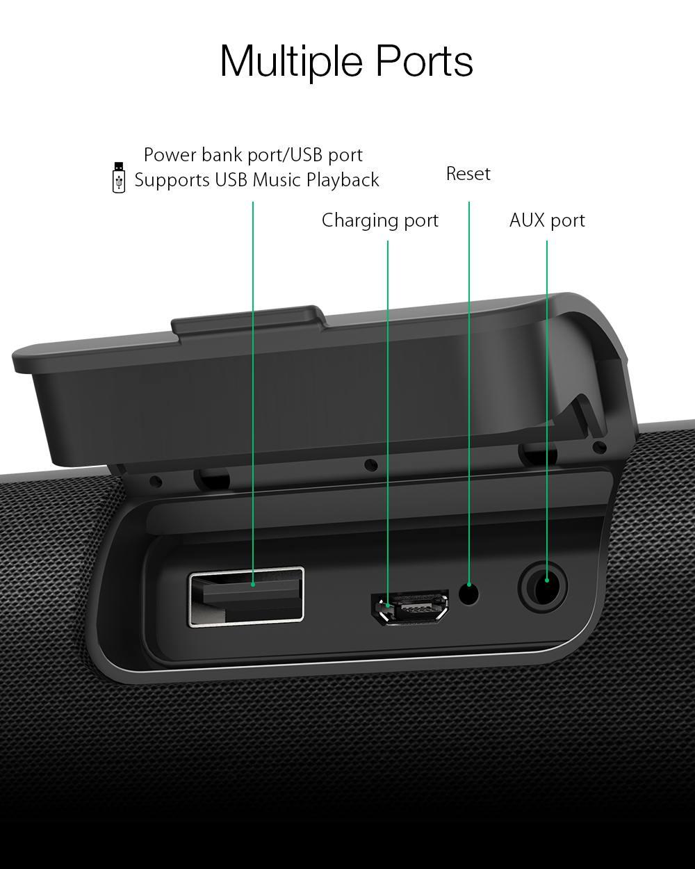 Blitzwolf bw-wa2 20w wireless bluetooth speaker dual passive diaphragm tws nfc bass subwoofer waterproof outdoor soundbar mic (black