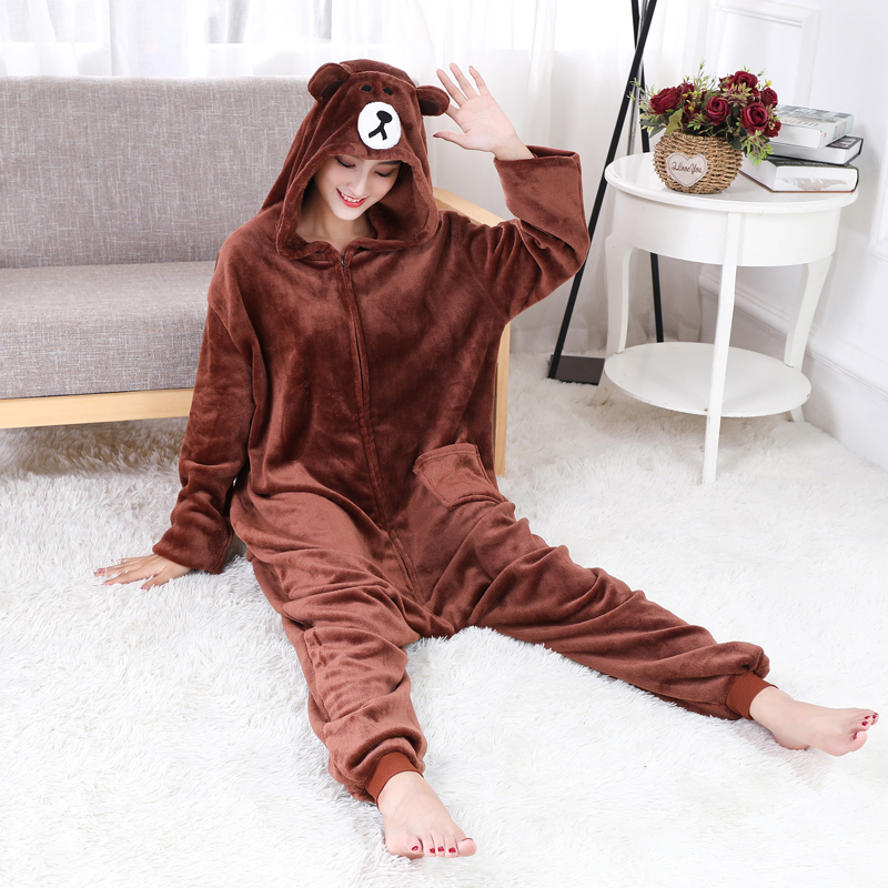 Adorable Brown Bear Kigurumi Onesie For Adults One-Piece Warm Flannel Animal Zipper Pajamas For Halloween Cosplay Party Costume (7)