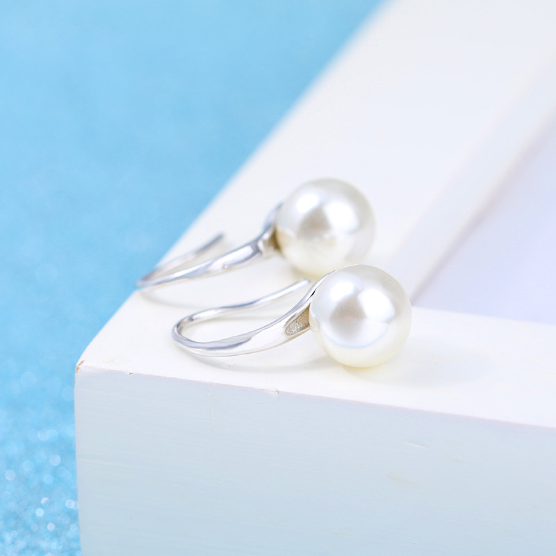 100 925 sterling silver high quality imitation pearl ladies drop earrings jewelry Anti allergy women female gift cheap in Drop Earrings from Jewelry Accessories