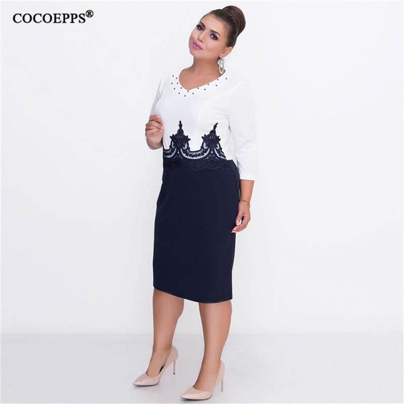 COCOEPPS Plus Size Women Clothing Summer Bodycon Dress Big Size Patchwork 5XL 6XL Lady Office Work Casual Lace Women Dresses in Dresses from Women 39 s Clothing
