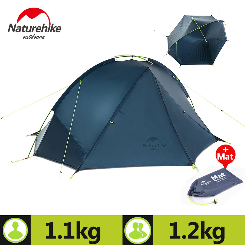 Naturehike Outdoor Portable Camping Tent For 1-2 Person 3 Season 20D Silicone Fabric Double Layer Rainproof Lightweight Tent naturehike 1 person camping tent with mat 3 season 20d silicone 210t polyester fabric double layer outdoor rainproof camp tent