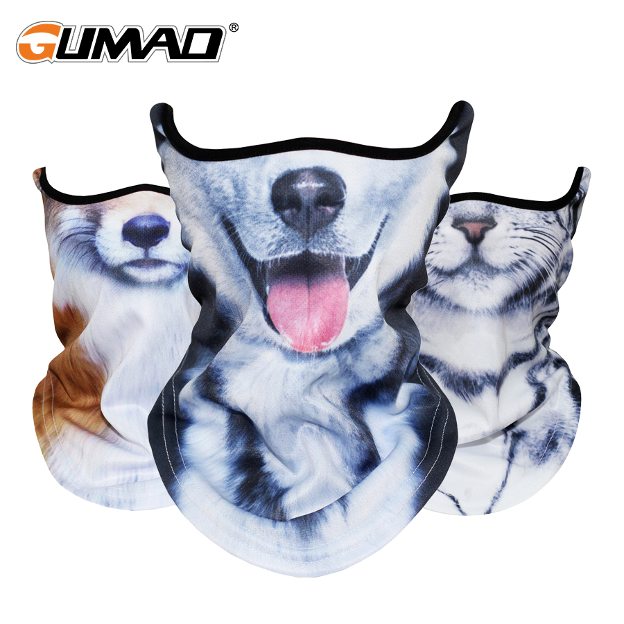 Outdoor 3D Cat Dog Bandana Half Face Mask Warmer Neck Gaiter Face Shield Bike Ski Hiking Cycling Sport Balaclava Scarf Men Women