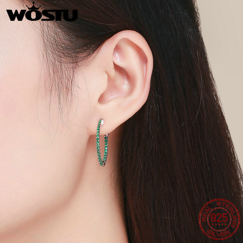 WOSTU Earrings for Women 925 Sterling Silver Green and Rose Gold Surface Stud Earrings Orecchini Fashion Jewelry Gifts BKE511 4