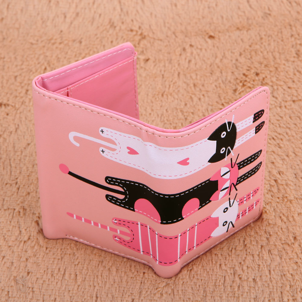 High-Quality Lovely Cat Compact trifold Wallet