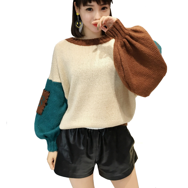 Women Elbow Patch Sweater Loose Stitch Ugly large Size Knitted Oversized Sweater Korean  ...