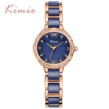 KIMIO Nuevo Diseño de Relojes de Pulsera de Moda Para Mujer de Cristal de Diamante de Cuarzo Reloj Relojes Mujer 2016 Azul Casual Montre Femme6016