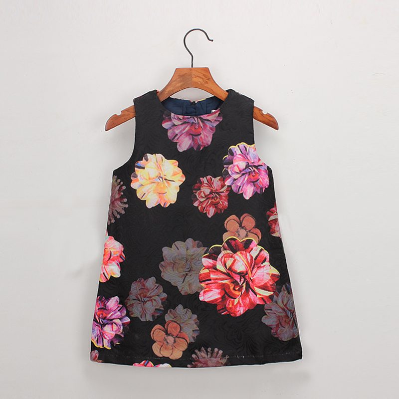 Hurave Autumn baby   Girl   Clothes Kids   Dress   print   flowers     Girls     Dress   vestidos outfits crew neck Children Spring pattern   Dress