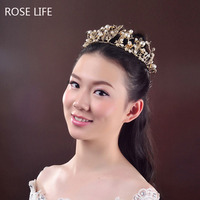 2016 New Elegant Luxury Gold Bride Pearl Jewelry Alloy Quinceanera Tiaras And Crowns Bridal Wedding Hair