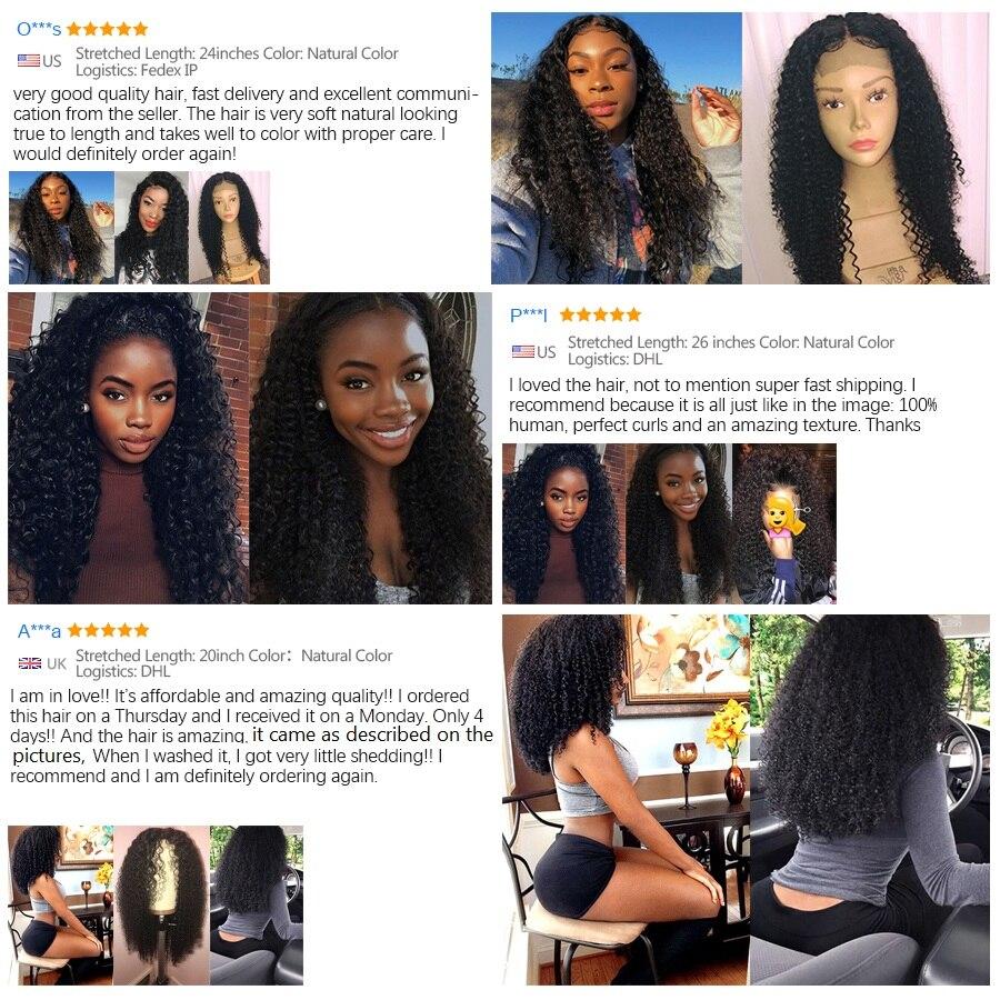 Afro Kinky Curly inimese juuste parukas beebi juuksed pits ees - Inimeste juuksed (must) - Foto 3
