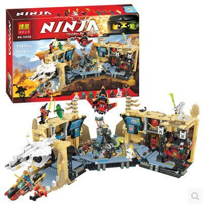 New bela 10530 Ninjagoes Toy Building Blocks Phantom Ninja Chaos Samurai Cave 1307pcs 70596 06039 gift boy set compatible with lego ninjagoes 70596 06039 blocks ninjago figure samurai x cave chaos toys for children building blocks